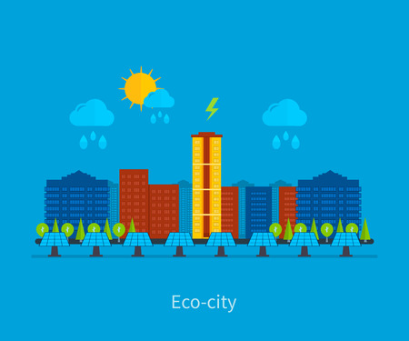 environment friendly: City landscape. Environmentally friendly house. Flat design vector concept illustration with icons of ecology, electricity city, environment, eco friendly energy and green technology.