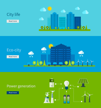 green economy: Flat design vector concept illustration with icons of ecology, city life, eco-city, power generation, eco friendly energy and green technology.