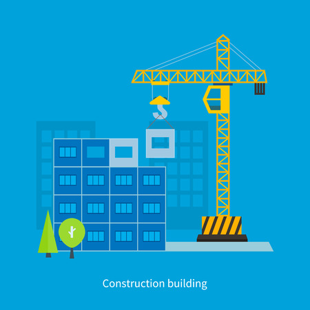 live work city: Flat design vector concept illustration with icons of building construction and urban landscape. Concept Vector Illustration in flat style design. Real estate concept illustration.