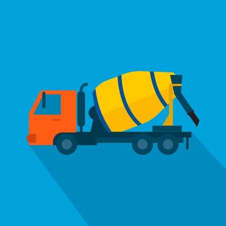 Cement mixer truck vector. Concept Vector Illustration in flat style design Illustration