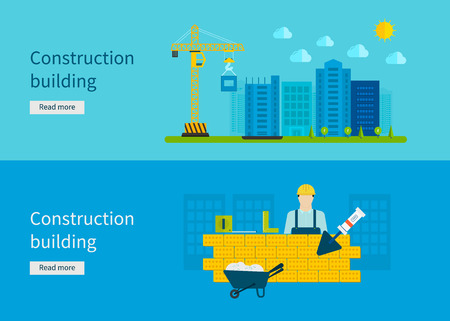 construction work: Construction of Building. Concept Vector Illustration in flat style design. Real estate concept illustration.