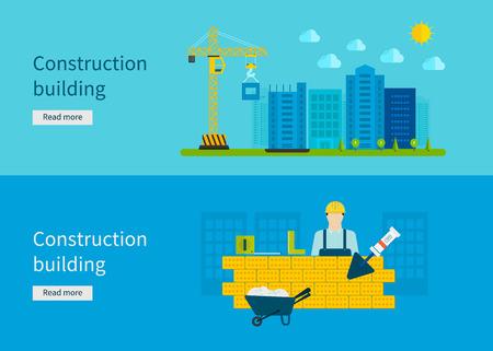 herramientas de trabajo: La construcción del edificio. Concepto de ilustración vectorial en el diseño de estilo plano. Ilustración del concepto de bienes raíces.