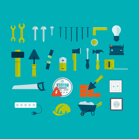creation kit: Vector flat icon tools and materials for the repair and construction