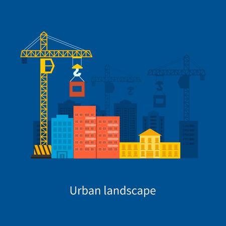 cantieri edili: Piatto disegno vettoriale concetto illustrazione con le icone di costruzione di edifici e paesaggio urbano. Concetto illustrazione vettoriale design stile piatto. Immobiliare concetto illustrazione.