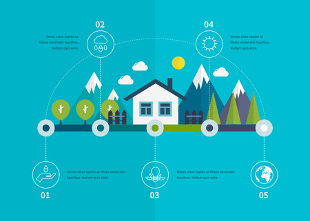 Ecology illustration infographic elements flat design. Eco life. Concept of green building and eco friendly. Vector illustration Vector