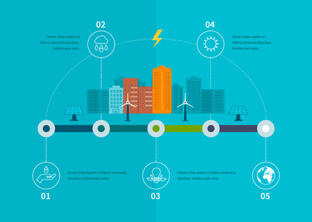 Ecology illustration infographic elements flat design. City landscape. Environmentally friendly house. Flat design vector concept illustration with icons of ecology, environment, eco friendly energy and green technology. Vector