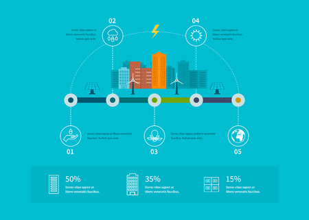 Ecology illustration infographic elements flat design. City landscape. Environmentally friendly house. Flat design vector concept illustration with icons of ecology, environment, eco friendly energy and green technology.