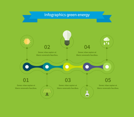 solar battery: Flat design vector concept illustration with icons of ecology, environment, green energy and eco friendly. Timeline illustration infographic elements.