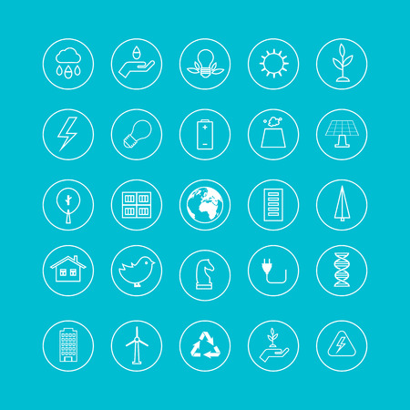 Flat design vector concept illustration with icons of ecology, environment, green energy and eco friendly.