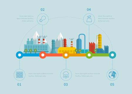 edificio industrial: Edificios de la fábrica industrial ilustración elementos infográficos de línea de tiempo de diseño plano. Vectores