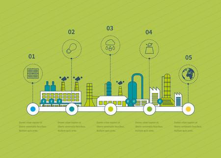 산업 공장 건물 그림 타임 라인 인포 그래픽 요소 평면 디자인. 얇은 라인 아이콘