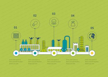 factory line: Industrial factory buildings illustration timeline infographic elements flat design.  Thin line icons