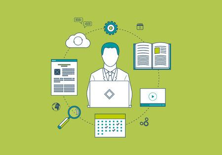manager: Concepto de servicios de consultor�a, gesti�n de proyectos, gesti�n del tiempo, la investigaci�n de mercados, planificaci�n estrat�gica y el aprendizaje en l�nea. Iconos de l�neas finas Vectores