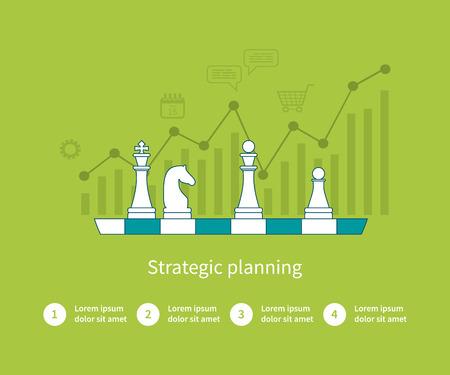 estrategia: Conjunto de dise�o plano ilustraci�n vectorial conceptos para el an�lisis de datos, la planificaci�n estrat�gica y de negocios con �xito. Iconos de l�neas finas