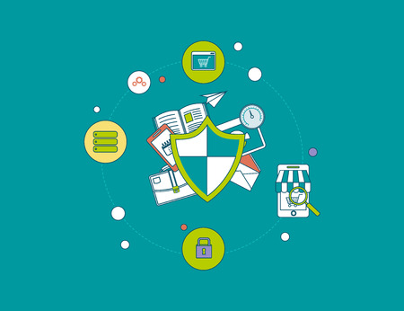 online privacy: Flat shield icon. Data protection concept. Social network security and data protection Illustration