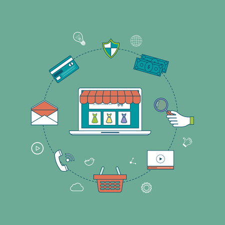 e store: Mobile marketing and online store concept flat icons. Pay per click. Product search. Vector illustration Illustration