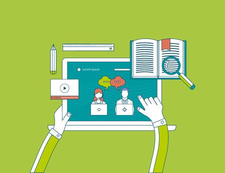 Design plat modernes icônes illustration vectorielle mis de l'éducation en ligne et e-learning. Utilisateur de choisir des cours en ligne. Cours en ligne propose la vidéo-sur-demande, forum, communication.