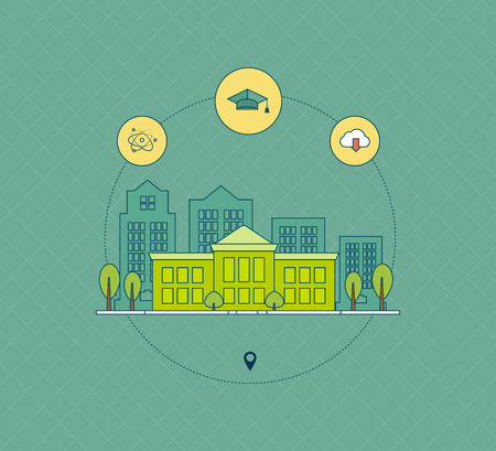 university building: School and university building icon. Thin line icons Illustration