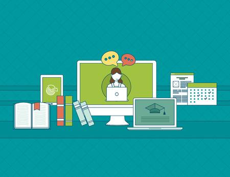 Conjunto de diseño plano ilustración vectorial conceptos de comunicación en línea, la educación y los medios de comunicación social. Conceptos para la web banners y materiales impresos. Ilustración de vector