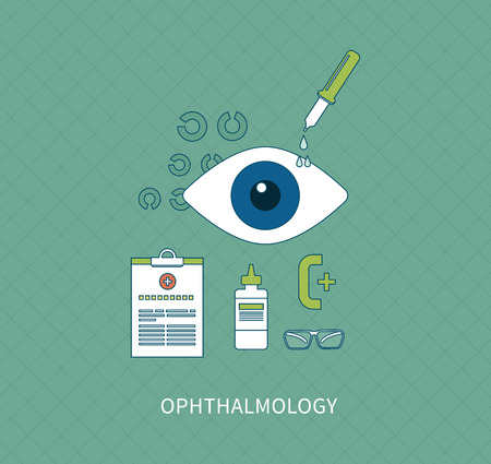 diopter: Ophthalmology flat concept, icons set vector illustration in flat style