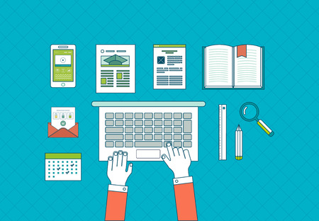 electronic book: Flat design vector illustration concept icons set of business workflow and elements, electronic devices, business consulting and online education. Thin line icons
