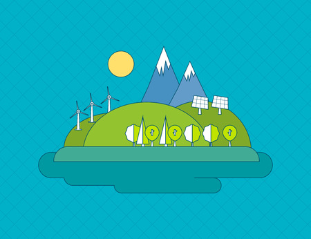 solar battery: Flat design vector concept illustration with icons of ecology, environment and green energy. Thin line icons