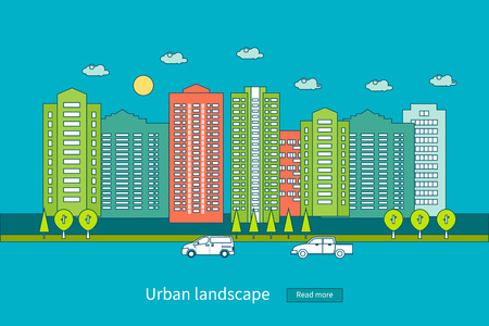 city live: Flat design modern vector illustration icons set of urban landscape and city life. Building icon. Thin line icons
