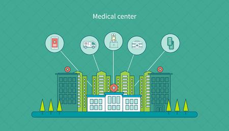 hospital room: Flat design modern vector illustration concept for healthcare, medical center and hospital building