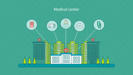 Flat design modern vector illustration concept for healthcare, medical center and hospital building