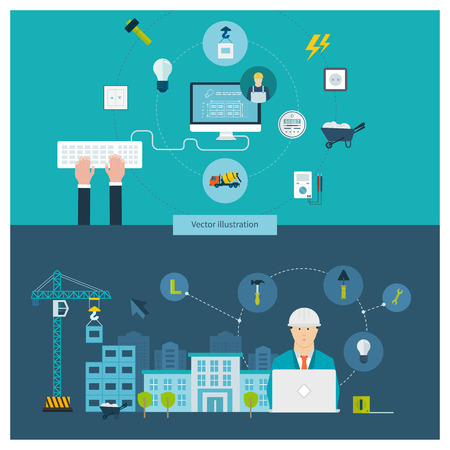Flat design vector concept illustration with icons of building construction, urban landscape and design of buildings, household power professional electrician and electricity.