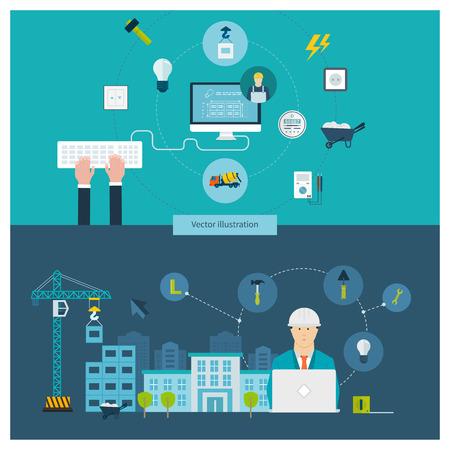 electricidad: Piso de dise�o vectorial Ilustraci�n del concepto con los iconos de la construcci�n de edificios, el paisaje urbano y el dise�o de los edificios, de corriente dom�stica electricista profesional y electricidad.