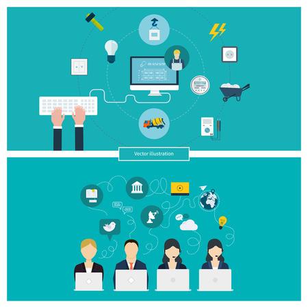 construction management: Concetto di rete sociale dei media, la gestione dei progetti, gestione del tempo, ricerche di mercato, la pianificazione strategica, costruzione di edifici, di corrente domestica elettricista e di energia elettrica. Vettoriali