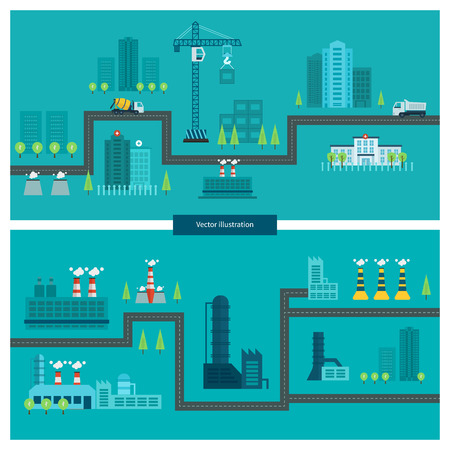 industry: Flat design vector concept illustration with icons of building construction, urban landscape and industrial factory buildings. Horizontal banners.