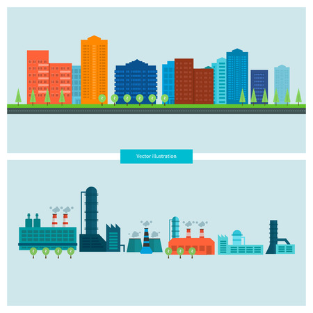 industrial buildings factory: Flat design vector concept illustration with icons of building construction, urban landscape and industrial factory buildings. Horizontal banners.