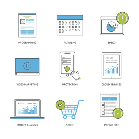 market analysis: Flat design modern vector illustration concept for planning, programming, video marketing, protection, market analysis and cloud services. Thin line icons. Modern flat line design element vector.