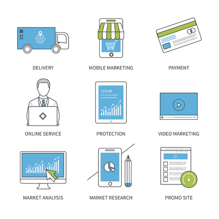 video marketing: Flat design modern vector illustration concept for delivery, mobile marketing, payment, online service, video marketing, protection, market research and market analysis. Thin line icons. Modern flat line design element vector.