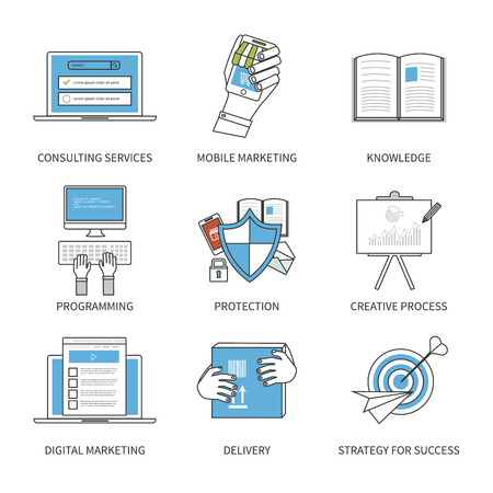 consulting services: Flat design modern vector illustration concept for consulting services, digital marketing, programming, protection, creative process and strategy for success. Thin line icons. Modern flat line design element vector.