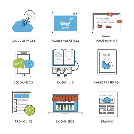 marktforschung: Flaches Design moderne Vektor-Illustration Konzept f�r Cloud-Services, Mobile Marketing, Programmierung, Social Media, E-Learning, Marktforschung und E-Commerce. D�nne Linie Symbole. Moderne Flach Line-Design-Element-Vektor.