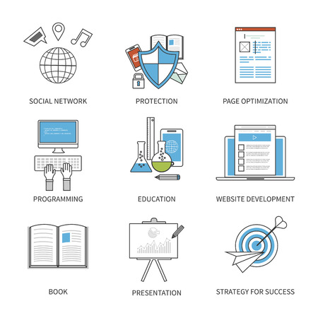 Diseño plano ilustración vectorial moderno concepto de red social, la protección, la optimización de la página, la programación, la educación y la estrategia para el éxito. Iconos de la forma. Línea plana moderna elemento de diseño vectorial