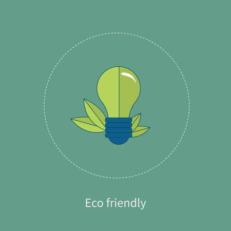 thin bulb: Light bulb with green leaves as a logo. The concept of eco-friendly energy source. Thin line icons. Modern flat line design element vector