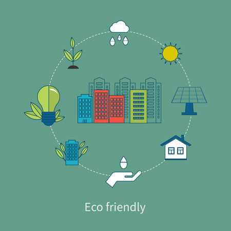 Flat design vector concept illustration with icons of ecology, environment and eco friendly energy. Concept of green building and clean energy. Thin line icons. Modern flat line design element vector Vector