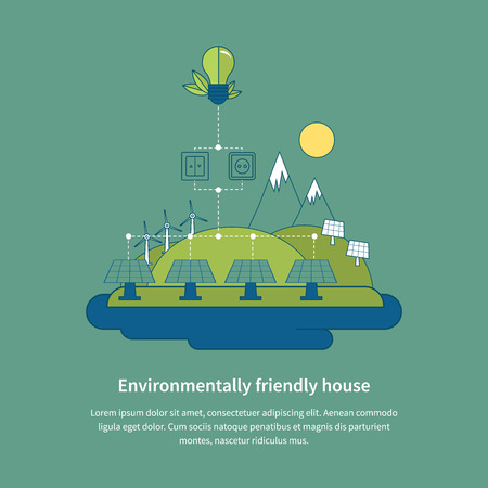 electrical energy: Village landscape. Environmentally friendly house. Flat design vector concept illustration with icons of ecology, environment, eco friendly energy and green technology. Thin line icons. Modern flat line design element vector Illustration