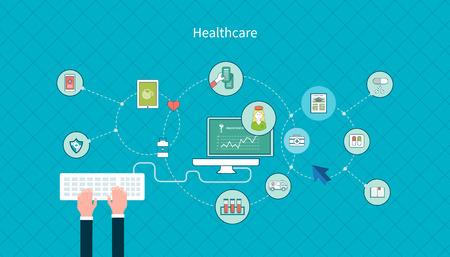 chăm sóc sức khỏe: Thiết lập thiết kế phẳng khái niệm minh hoạ vector cho chăm sóc sức khỏe, sơ cứu, dịch vụ y tế và hỗ trợ trực tuyến. Khái niệm cho các biểu ngữ và tài liệu in
