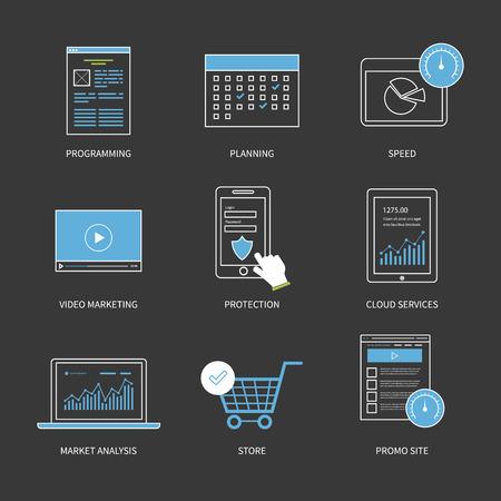 planificacion estrategica: Diseño plano vector moderno concepto de ilustración para la planificación, programación, marketing de vídeo, protección, análisis de mercado y servicios en la nube. Iconos de la forma. Línea plana moderna elemento de diseño vectorial.