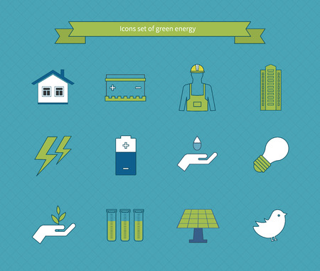 electricity generator: Power energy, eco friendly and green energy icons set