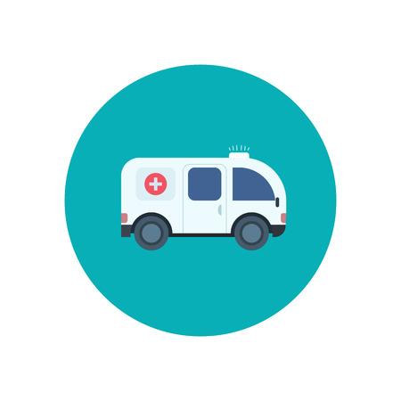 ambulances: Ambulance car icon in flat design style, vector illustration Illustration