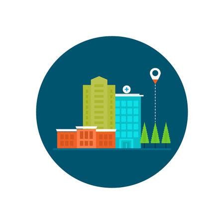 medical center: Flat design modern vector illustration concept for healthcare, medical center and hospital building
