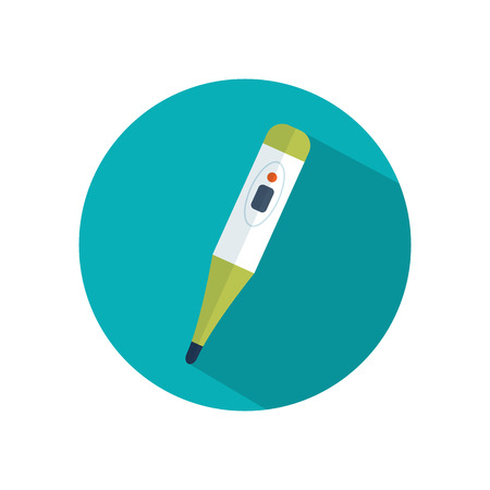 digital thermometer: Digital medical thermometer flat icon.  Health care. Illustration