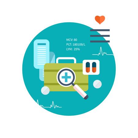farmacia: Conjunto de dise�o plano ilustraci�n vectorial conceptos para el cuidado de la salud, primeros auxilios, servicios m�dicos en l�nea, el diagn�stico y tratamiento Vectores