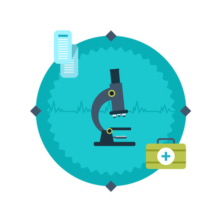 bacteria in heart: Modern flat vector icon of microscope. Set of flat design vector illustration concepts for health care Illustration